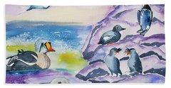 Watercolor - Alaska Seabird Gathering Hand Towel