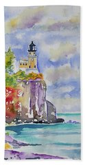 Watercolor - Autumn At Split Rock Lighthouse Hand Towel