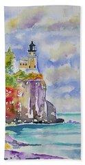 Watercolor - Autumn At Split Rock Lighthouse Bath Towel