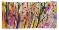 Watercolor - Autumn Forest Impression Bath Towel