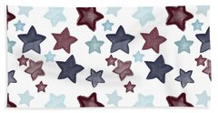 Watercolor Blue Red Stars Bath Towel