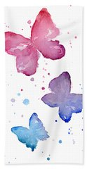 Watercolor Butterflies Bath Towel