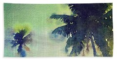 Watercolor Coconut Tree Tropical Vintage Palm  Bath Towel