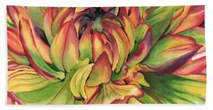 Bath Towel featuring the painting Watercolor Dahlia by Angela Armano