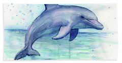 Watercolor Dolphin Painting - Facing Right Hand Towel