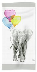 Watercolor Elephant With Heart Shaped Balloons Hand Towel