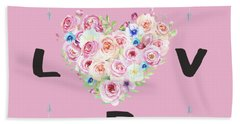 Bath Towel featuring the painting Watercolor Flowers Arrows Love Typography by Georgeta Blanaru