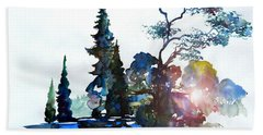 Watercolor Forest And Pond Bath Towel