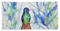 Watercolor - Golden-tailed Sapphire Bath Towel