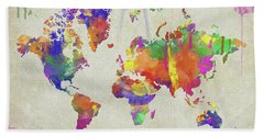 Watercolor Impression World Map Bath Towel