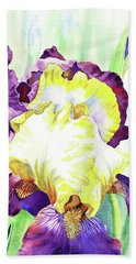 Watercolor Iris Flower Bath Towel