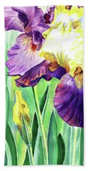 Watercolor Iris Flowers Bath Towel