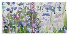 Watercolor - Lupine Wildflowers Bath Towel