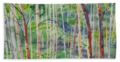 Watercolor - Magical Aspen Forest After A Spring Rain Hand Towel