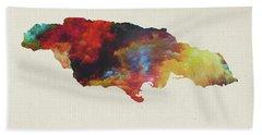 Watercolor Map Of Jamaica Bath Towel