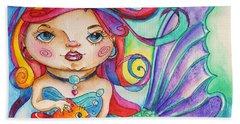 Watercolor Mermaidia Mermaid Painting Hand Towel by Shelley Overton