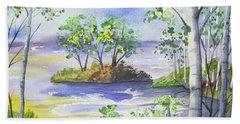 Watercolor - Minnesota North Shore Landscape Bath Towel