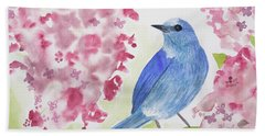 Watercolor - Mountain Bluebird Hand Towel
