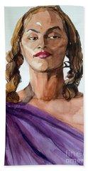 Portrait In Watercolor Of A Brooklyn Queen Hand Towel