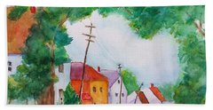 Watercolor Painting Of Cottage Street Hand Towel