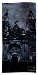 Watercolor Painting Of The Neo-classical Facade Of The Cathedral Hand Towel