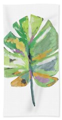 Hand Towel featuring the mixed media Watercolor Palm Leaf- Art By Linda Woods by Linda Woods