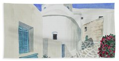 Watercolor - Paros Church And Street Scene Hand Towel