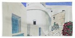 Watercolor - Paros Church And Street Scene Bath Towel