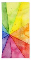 Watercolor Rainbow Beachball Pattern Hand Towel