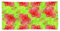 Watercolor Red Hibiscus Tropical Aloha Botanical Hand Towel