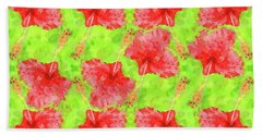 Watercolor Red Hibiscus Tropical Aloha Botanical Bath Towel