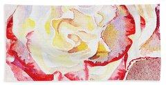 Watercolor Rose Close Up  Bath Towel