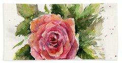 Watercolor Rose Bath Towel