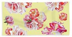 Hand Towel featuring the painting Watercolor Roses Golden Dance by Irina Sztukowski