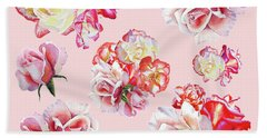 Hand Towel featuring the painting Watercolor Roses Pink Dance by Irina Sztukowski
