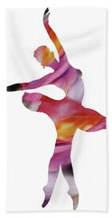 Watercolor Silhouette Dancing Ballerina I Hand Towel