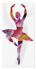 Watercolor Silhouette Dancing Ballerina II Hand Towel