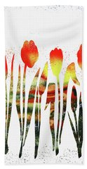 Watercolor Silhouettes Of Tulips Hand Towel