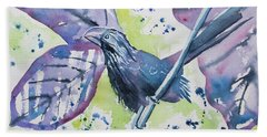 Watercolor - Smooth-billed Ani Hand Towel