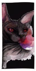 Watercolor Sphinx Bath Towel by Akiko Okabe