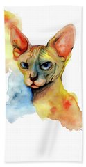 Watercolor Sphynx 2 Bath Towel by Akiko Okabe
