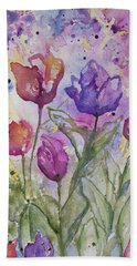 Watercolor - Spring Flowers Hand Towel
