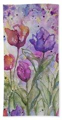 Watercolor - Spring Flowers Hand Towel