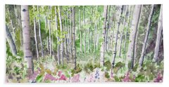 Watercolor - Summer Aspen Glade Hand Towel