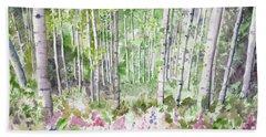 Watercolor - Summer Aspen Glade Bath Towel
