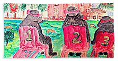Watercolor Three Bears Visiting A Farm In Tuscany Hand Towel
