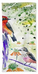 Watercolor - Vermilion Flycatcher Pair In Quito Hand Towel
