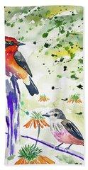 Watercolor - Vermilion Flycatcher Pair In Quito Bath Towel