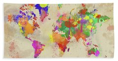 Watercolor World Map On Old Canvas Bath Towel