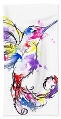Watercolour Hummingbird Hand Towel
